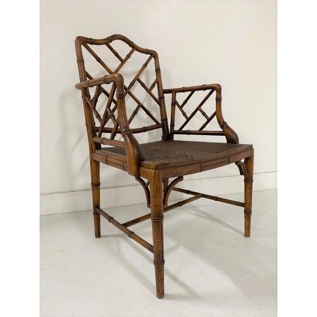 Chinese Chippendale Style Faux Bamboo Arm Chair with cane seat.