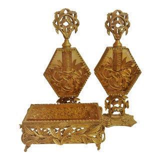 Vintage Perfume Bottles & Jewelry Box - 3 Pieces For Sale