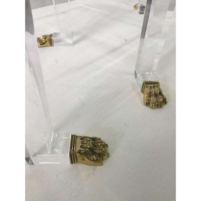 Hollywood Regency Pair of Custom Designed Lion Feet on Acrylic Side Tables For Sale - Image 3 of 8
