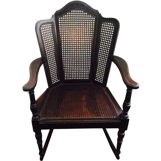 Vintage Wood & Cane Rocking Chair - Image 1 of 8