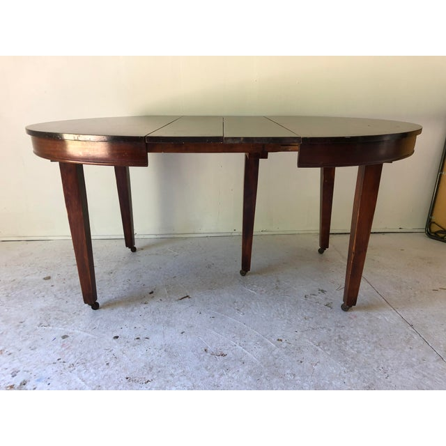 Antigue Mahogany 5-Leg Dining Table Apartment Size