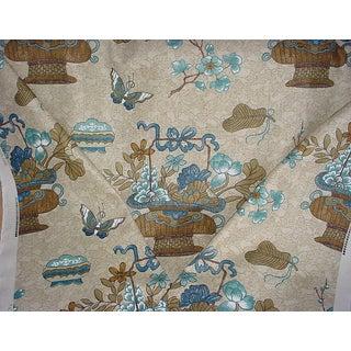Gp & J Baker Castleton Stone Indigo Drapery Upholstery Fabric- 12-1/4 Yards For Sale