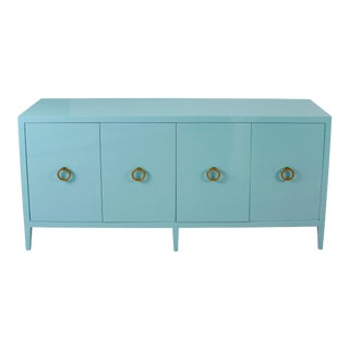 Blue Lacquered Modern Credenza For Sale