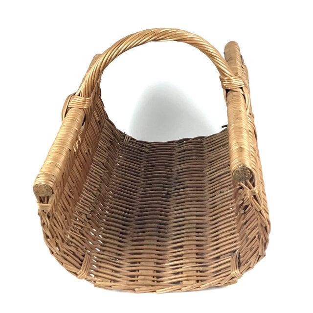 Vintage Wicker Log Basket & Magazine Rack For Sale - Image 4 of 13