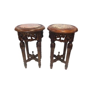 Chinese Round Carved Marble-Top Pedestal Tables - A Pair For Sale
