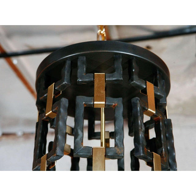 Paul Marra Paul Marra Link Light Fixture in Brass and Oil Rubbed Bronze For Sale - Image 4 of 5