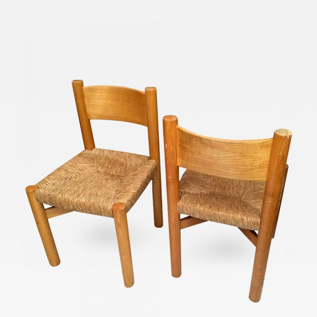 Contemporary Charlotte Perriand Pair of Ash Tree and Rush Chairs For Sale - Image 3 of 3