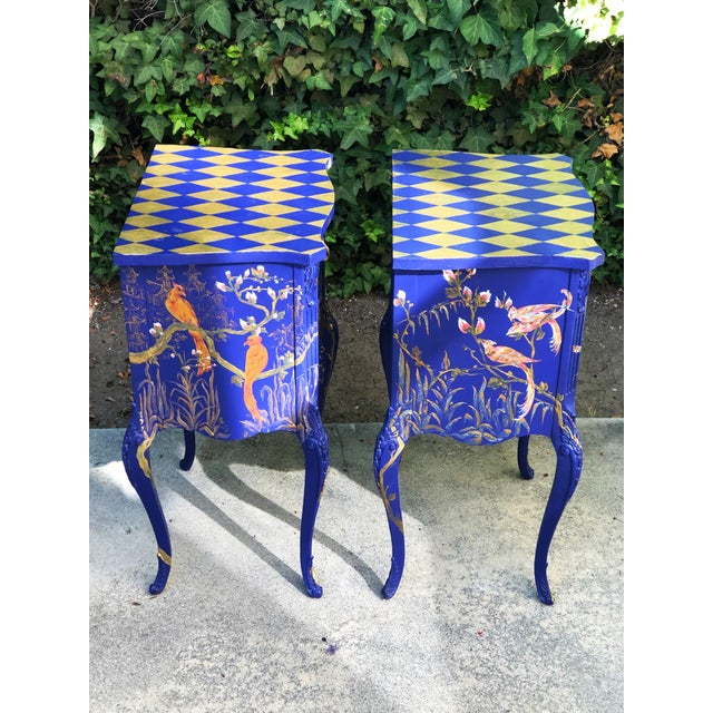 1930s Hand Painted Chinoiserie Nightstands with Birds - a Pair For Sale - Image 9 of 13