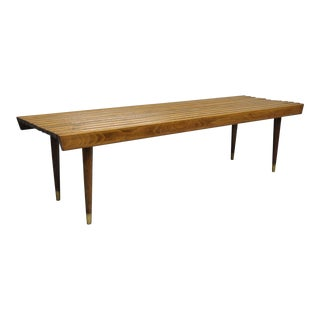 1960s Vintage Nelson Style Danish Modern Walnut Slat Bench Coffee Table