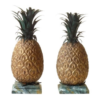 Tole Pineapples Decorative Objects - a Pair For Sale