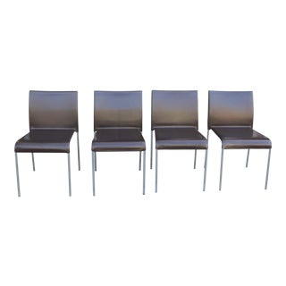 Italian Modern Leather Chairs - Set of 4