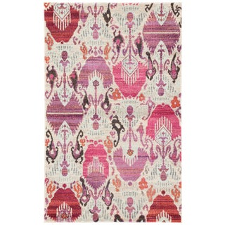 Jaipur Living Lavendula Ikat Ivory & Pink Area Rug - 4′ × 5′8″ For Sale