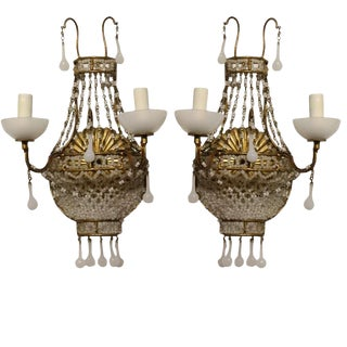 1920's Vintage French White Opaline Wall Sconces- A Pair For Sale