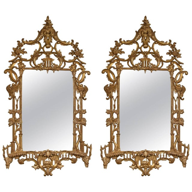 Italian Gilt Chinese Chippendale Mirrors - Pair - Image 1 of 7