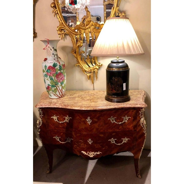 Metal Pair of Louis XV Style Bombe Bronze Mounted Commodes, Nightstands or Chests For Sale - Image 7 of 13
