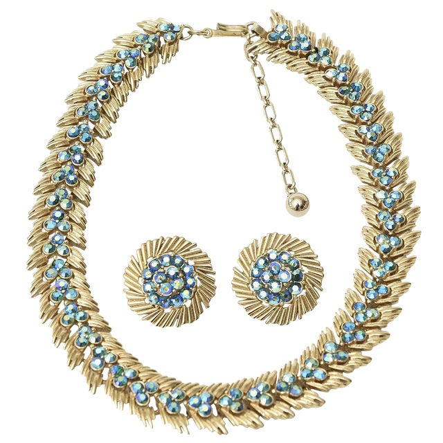 Signed Trifari Choker and Pair of Matching Clip on Earring Set For Sale