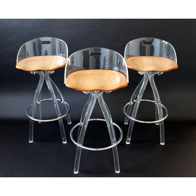 Lucite Mid Century Modern Hill Mfg Lucite Wood Saddle Seat Bar Stools- Set of 3 For Sale - Image 7 of 7