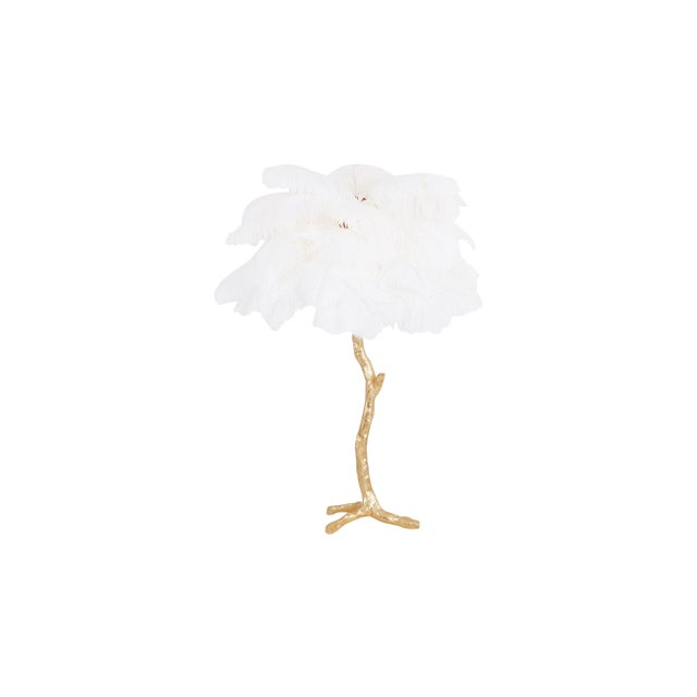 Gold Palm Tree Lamp With White Feathers For Sale