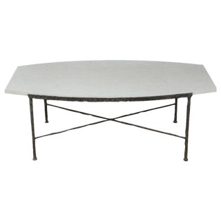 Paul Marra Ellipse Cocktail Table in Textured Iron and Bateig Blue Stone For Sale