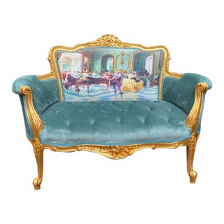 French Louis XVI Style Settee in Velvet and Gobelin Made to Order For Sale