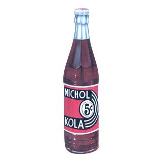 Vintage General Store Hand Painted & Large Scale Nichol Kola Bottle Sign For Sale