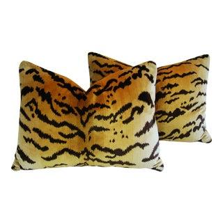 Italian Scalamandre Le Tigre Tiger Silk & Mohair Feather/Down Pillows - a Pair