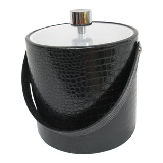 Mid-Century Black Faux Alligator Ice Bucket by Irvinware For Sale