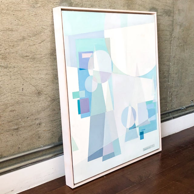 Abstract Original Mid Century German Cubist Painting, Signed by Artist 1971 For Sale - Image 3 of 13