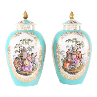 19th Century Hollywood Regency Gilt Porcelain Covered Urns - a Pair For Sale