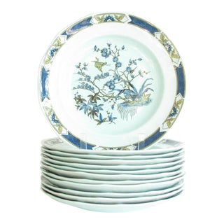 Vintage Adams Calyx Ware Blue Ming Toi Dinner Plates - Set of 12 For Sale