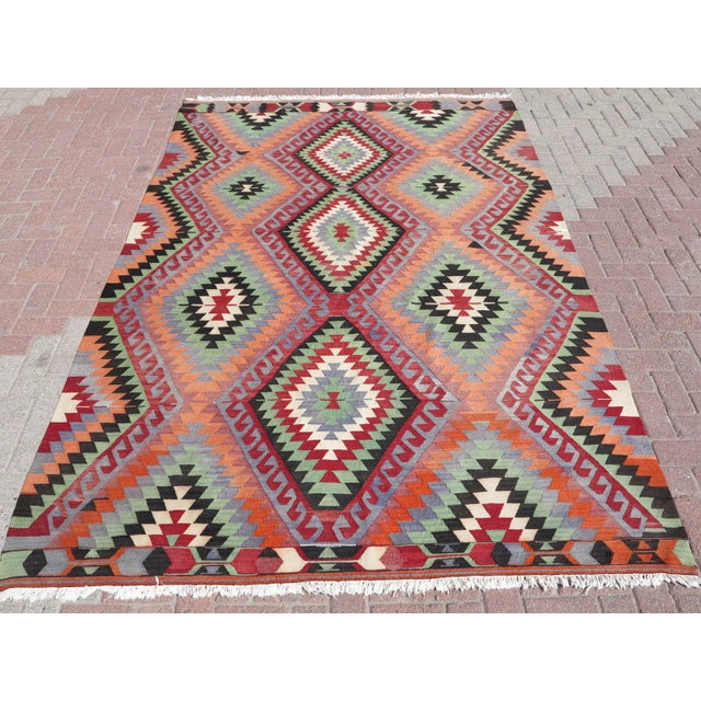 "Vintage Handwoven Turkish Kilim Rug - 6'4"" x 9'6"" - Image 2 of 8"