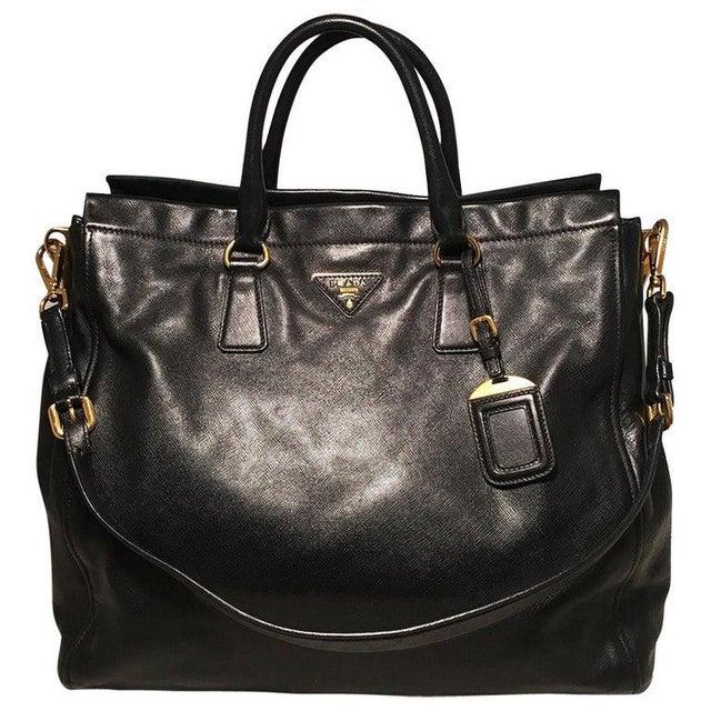 Prada Black Leather Saffiano Top Handle Tote Shoulder Bag For Sale - Image 11 of 11