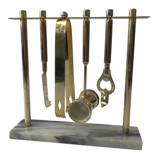 Brass and Marble Bar Tools Set
