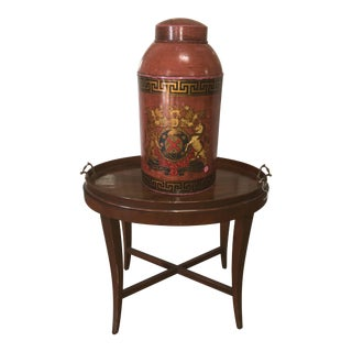 Painted English Coat of Arms on Tole Canister
