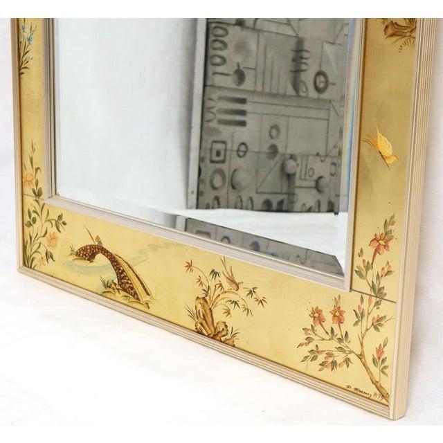 La Barge Reverse Painted Gold Leaf Rectangular Frame Decorative Mirror For Sale - Image 11 of 13