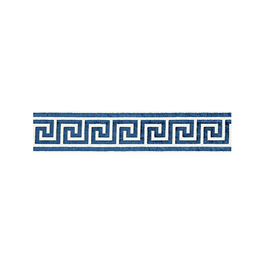 Traditional Scalamandre Greek Key Velvet Tape, Indigo For Sale - Image 3 of 3