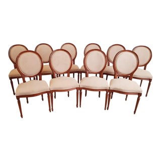 Large Set of 10 Louis XVI Style Reupholstered Pink Alcantara Medallion Dining Chairs For Sale