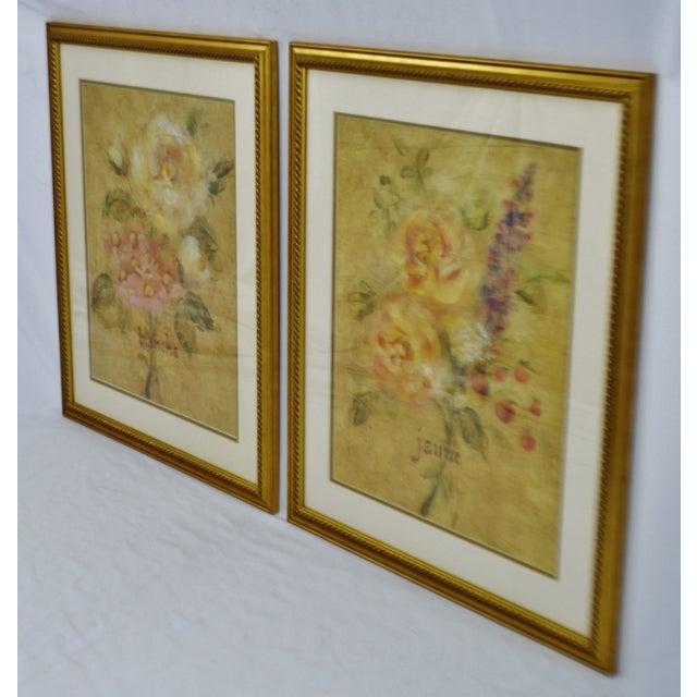 Traditional Vintage Framed French Jaune & Blanche Floral Still Life Prints For Sale - Image 3 of 13