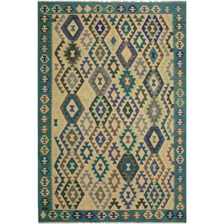 Avril Teal/Ivory Hand-Woven Kilim Wool Rug -5'9 X 7'10 For Sale