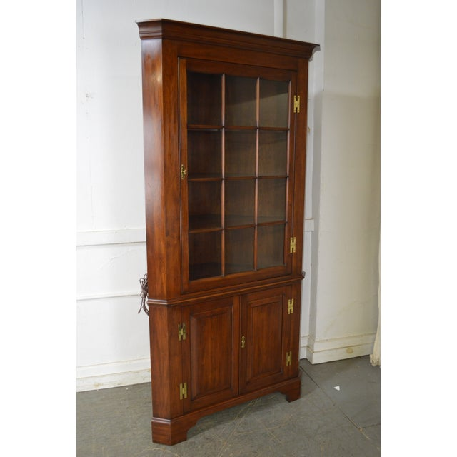 Henkel Harris Chippendale Style Pair of Solid Cherry 12 Pane Corner Cabinets For Sale - Image 10 of 13