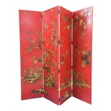 Image of Chinoiserie Red Four Panel Screen/Room Divider