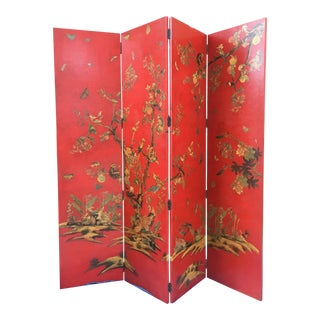 Chinoiserie Red Four Panel Screen/Room Divider