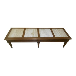 Vintage Mid-Century Modern Walnut & Travertine Marble Coffee Table For Sale