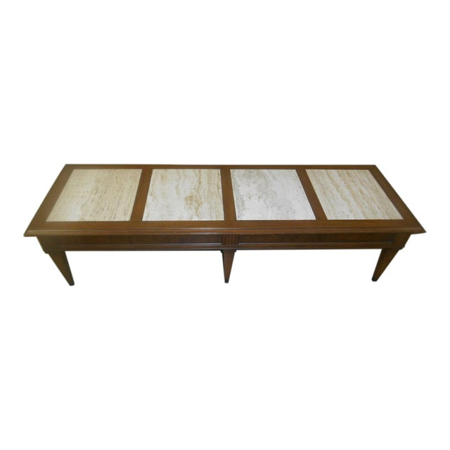 Vintage MidCentury Modern Walnut Travertine Marble Coffee Table - Walnut and marble coffee table
