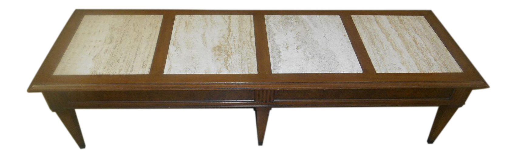 Vintage Mid Century Modern Walnut U0026 Travertine Marble Coffee Table