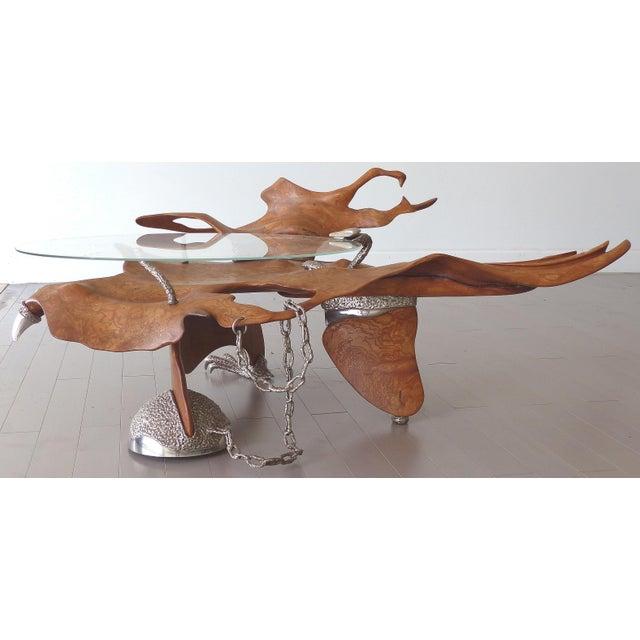 Fantasy Furniture Burl & Chrome Studio Coffee Table, Figurative Eagle & Serpent For Sale - Image 13 of 13