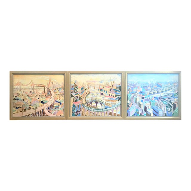 Vintage Mid-Century Modern Aerial Views Philadelphia Riverfront Neighborhoods Signed Framed Triptych Painting For Sale