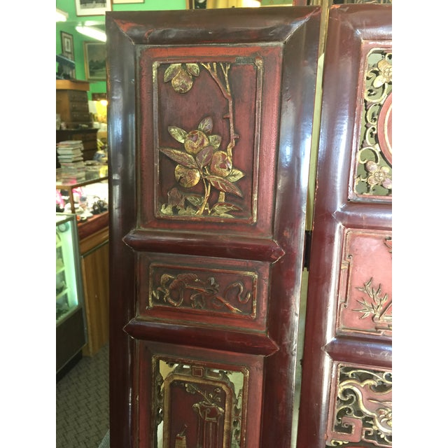 Wood Carved Antique Asian Screen Room Divider For Sale - Image 7 of 11
