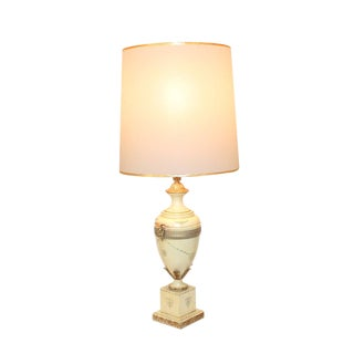 Neoclassical Italian Tole Urn Lamp Rams Head Handles Hollywood Regency French Empire For Sale
