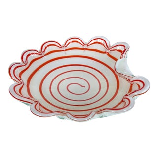 Murano Art Glass Bowl w/ Red & White Swirls